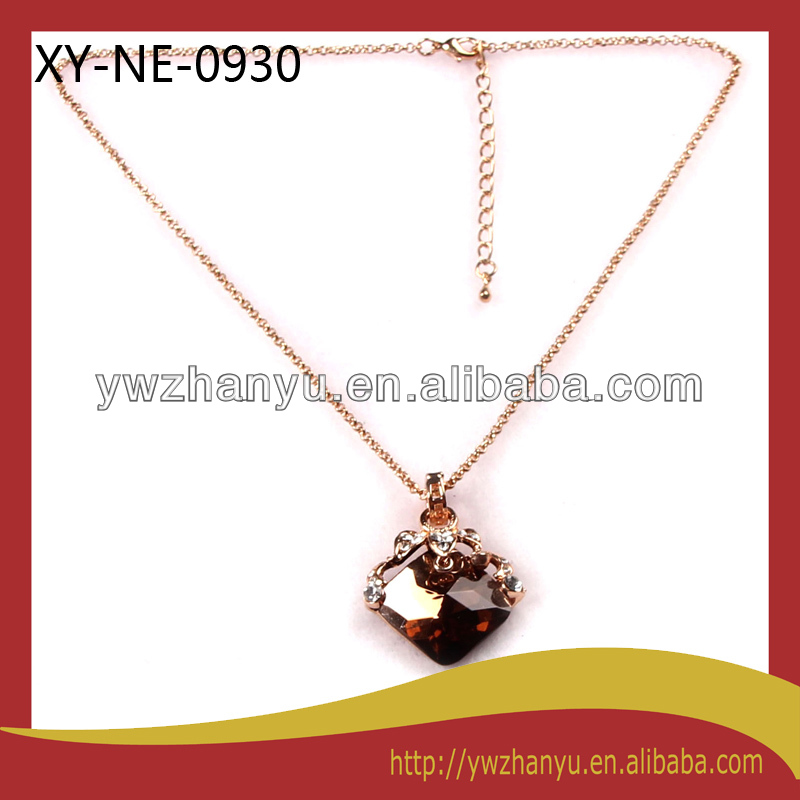 new fashion amber rhinestone color pendant chain charm elegant necklace