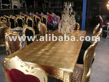 Dining Set Silver Baroque Classic Style and Neo Rococo Gold Modern Chairs