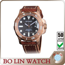 76818 ETA Luxury Italy import calf leather strap bronze watch for men 50ATM automatic