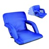 Portable reclining folding chair with arm rest