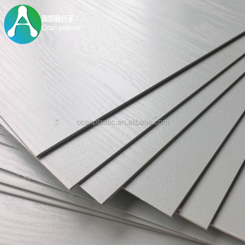 Grey / White Color Textured Wood Grain Plastic PVC <strong>Sheet</strong> 1mm Thickness