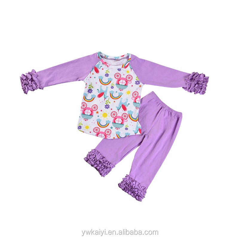 Wholesale Plus Size China Clothing Purple Long Sleeve Floral Ruffle Kids Outfits