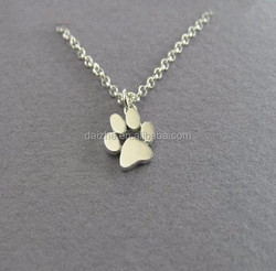 "2015 factory direct price high polish 18"" chain 925 sterling silver dog lover paw print necklace"