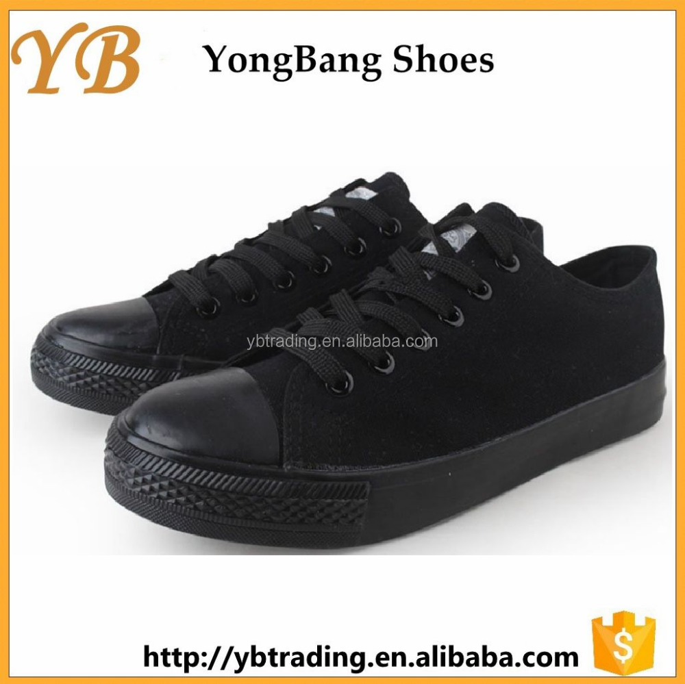 Alibaba wholesale cheap black canvas shoes 2.99