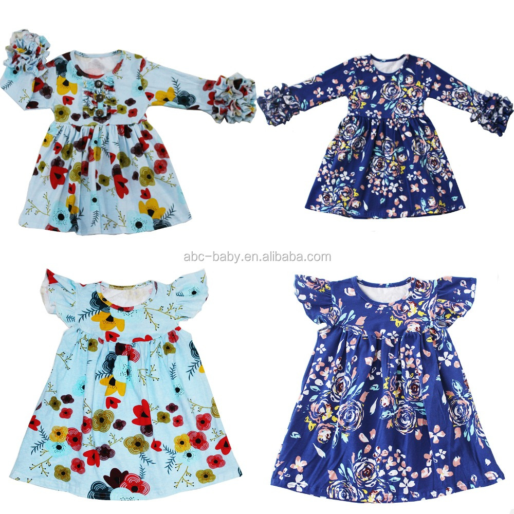 Boutique Kids Clothes Floral Girls Party Dresses Baby Frock Design Pictures
