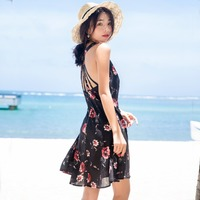 Womens Summer Sleeveless V-Neck Backless Strap Sexy Party Mini Dress Floral Casual Short Dresses for wholesale/retail/drop Ship