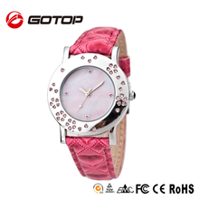 Stainless steel back case water resistant PU leather strap rhinestone vogue lady concept watch