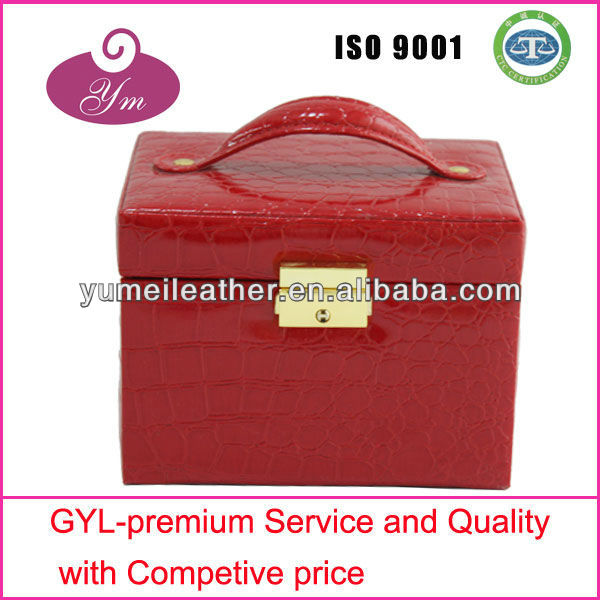 Hot sale!!! 2014 red pu cosmetic case leather cosmetic case hard makeup case