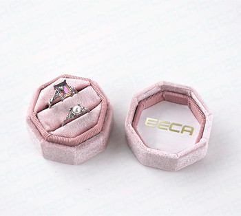 Luxury custom velvet wedding double ring packaging box with hot stamping on the inside of lid