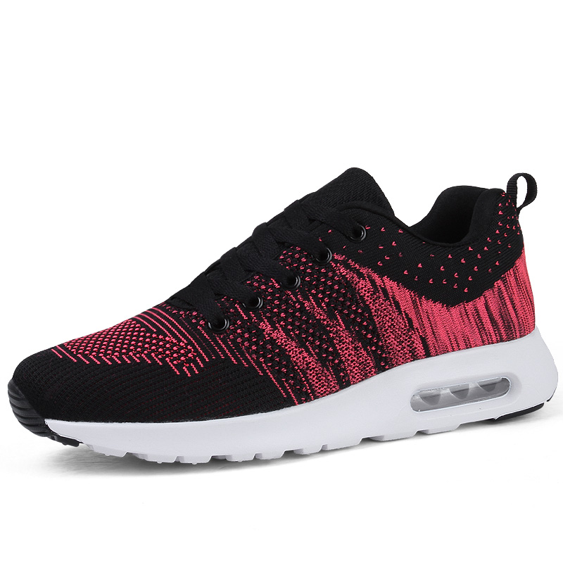 Flyknit mesh shoes leisure running shoes wedge sneakers for women