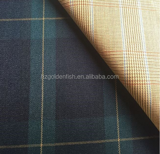 Ready stock Organic Plaid Wool stock fabric for suit blazer