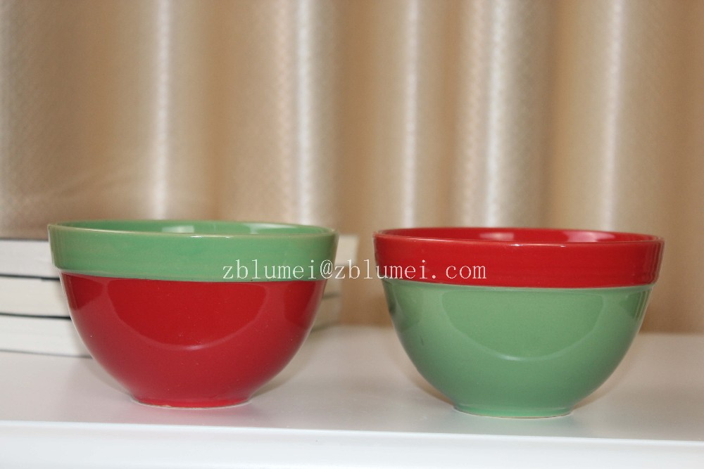 milk and cereal breakfast color glazed ceremic bowl