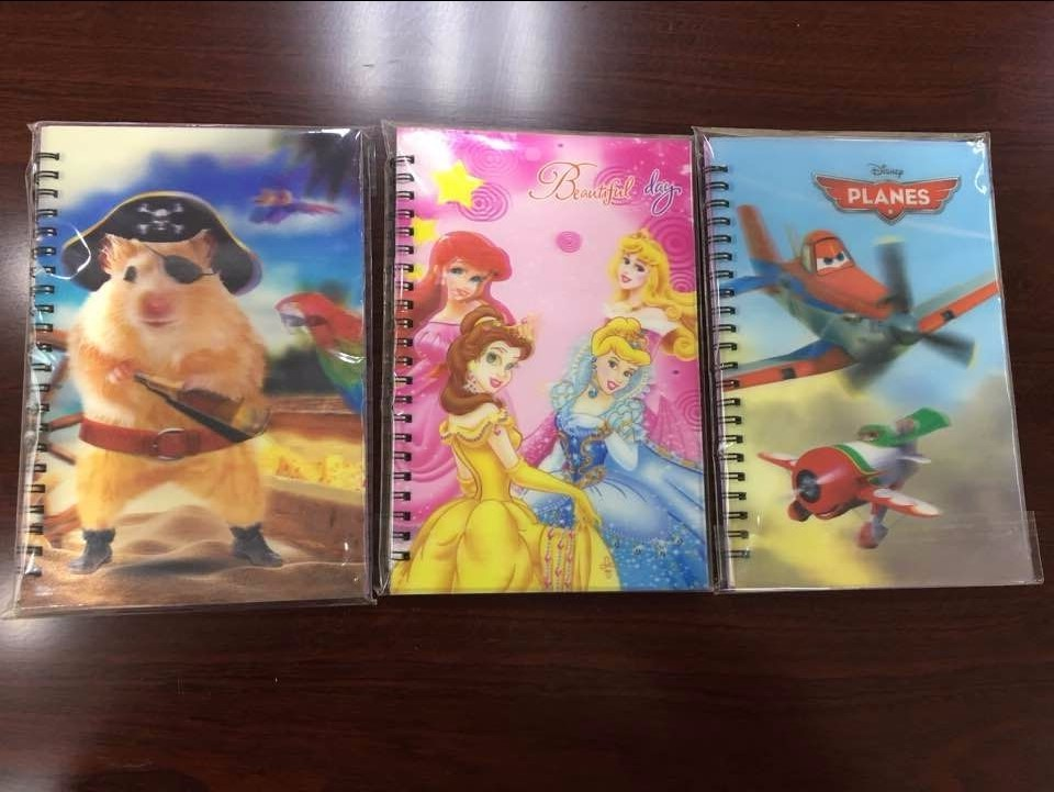 custom school stationery kids plastic 3d lenticular printing cover spiral notebook