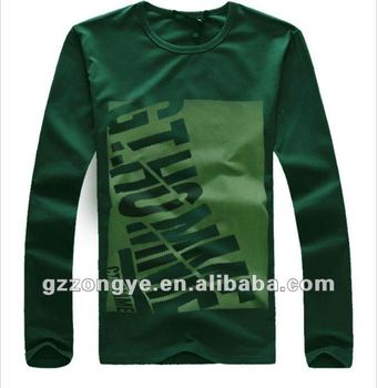 Men T shirts long sleeve puff printing letter round neck plain tees