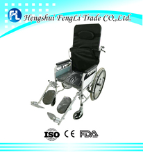 comfortable high back full reclining manual folding wheel chair with toilet hole for disabled person