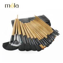 Hot sale makeup brush set 32 piece black pouch powder brush and blush brush in high quality
