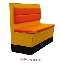 Guangzhou OEM design orange leather restaurant sofa booth for coffee(FOH-XM32-480)