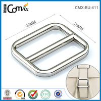 Shiny silver metal adjustable strap buckle for bag