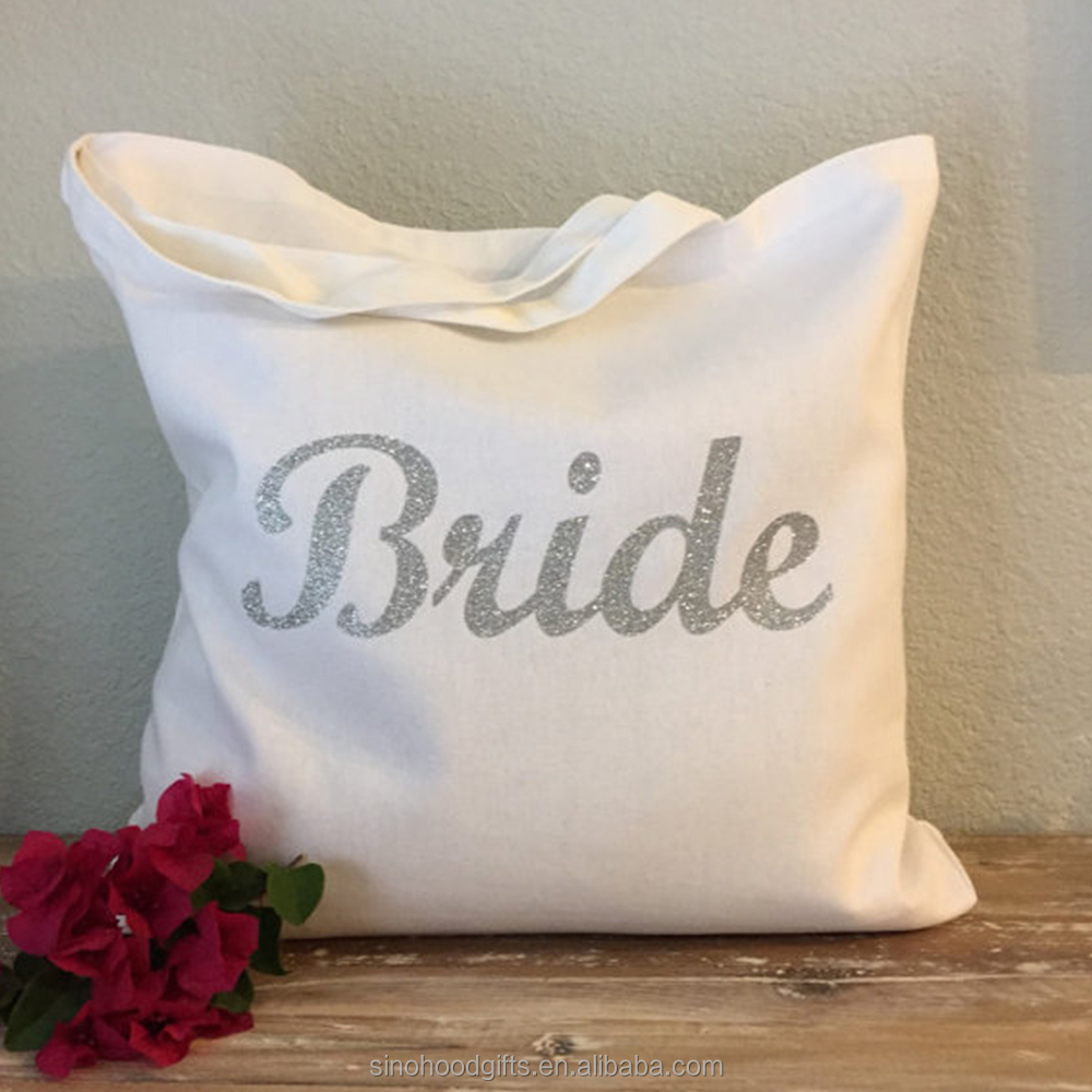 China Factory supplier High quality Cotton wedding favor Silver Bride Tote Bag