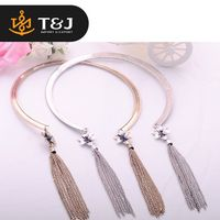 >>>Hot Sale Gold and Silver Plated Fashion Wide Collar Jewelry Lovely Flower Shaped Beautiful Tassel Chain Choker Necklace NEW/