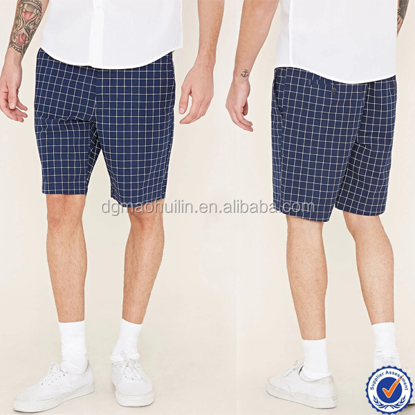 2016 hot sells men's grid shorts fitted fashion pants in summer
