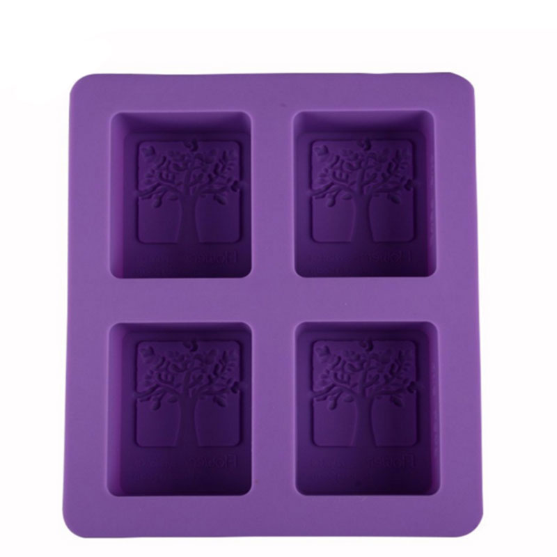 Best Seller 4 Cavities Nonstick Silicon Soap Mold, One Leaf Tree Silicone High Quality Soap Mold