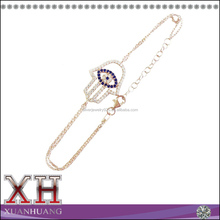 Wholesale Sterling Silver Cubic Zirconia Pear-shape Evil Eye Bracelet