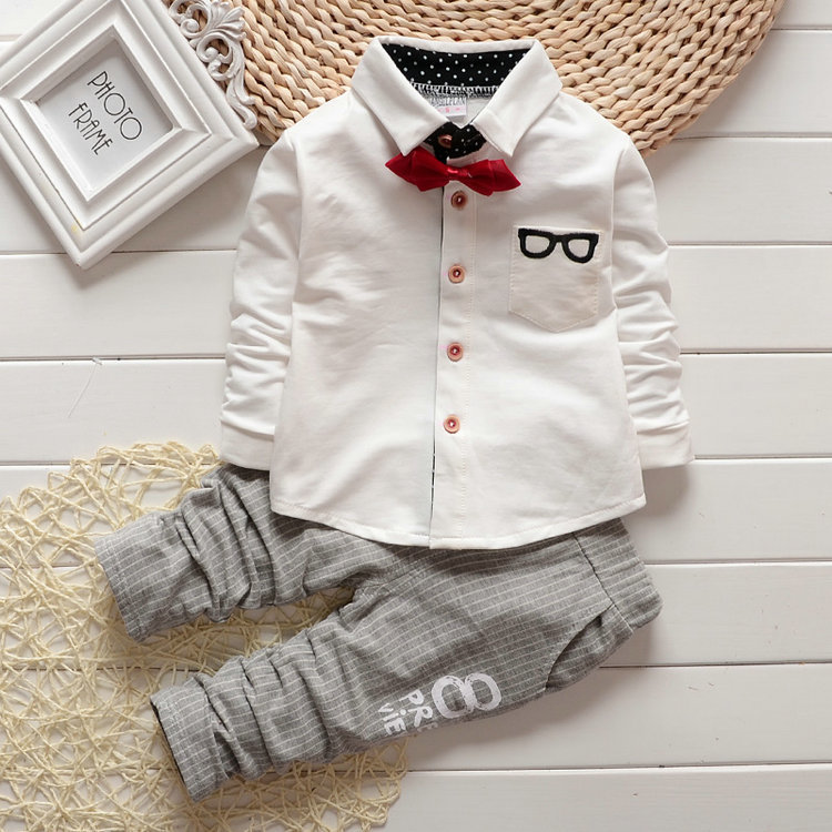 2016 New design boys pant shirt 2 pcs set baby boy clothes