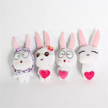 2016 easter decoration brush plush bunny rabbit keychain, high quality mini different emoji rabbit for Easter