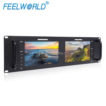 Dual 7 inch Display 3RU 3G-SDI HDMI Field Monitor 1280x800 Rack Mount IPS Screen