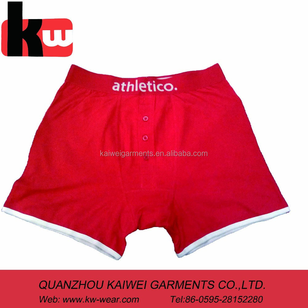 Plain Red Color Front Fly Pictures Of Mens Underwear,Boxer for Mens