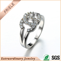Fashion 925 Sterling Silver finger Rings Letter double C Decorated With CZ stone