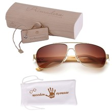 [wholesale] ZL164 Double Bridge Metal Frame Bamboo Temple Aviator Mirror Sunglasses