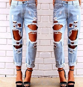 Monroo High quality sexy women denim jeans, ladies legging ripped jeans