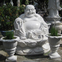 Hot selling white marble laughing buddha