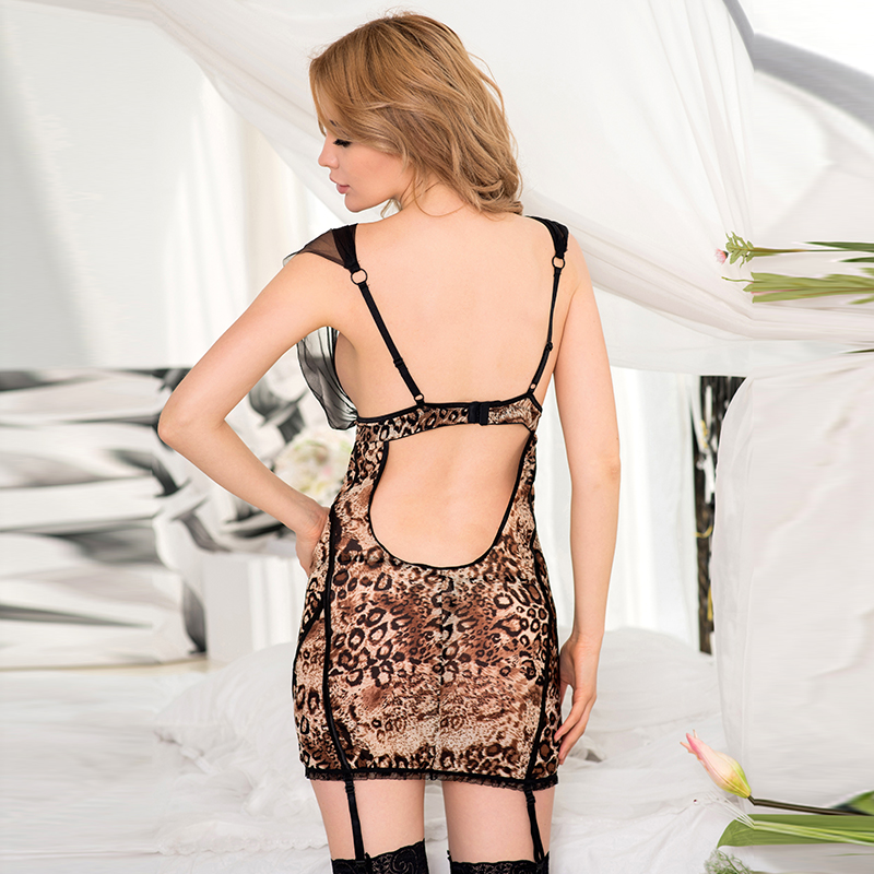 Animal print erotic sexy lady porn lingerie
