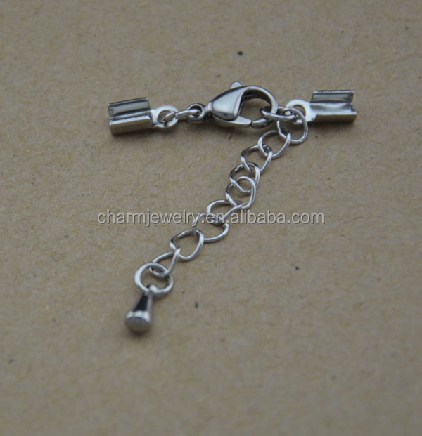 Stainless Steel lobster Claw cord clasp for bracelet DIY jewelry Findings & Components BXG031