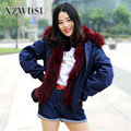 CX-G-P-19F Popular Red Wine Fox Fur Lining Women Real Hooded Fur Parka