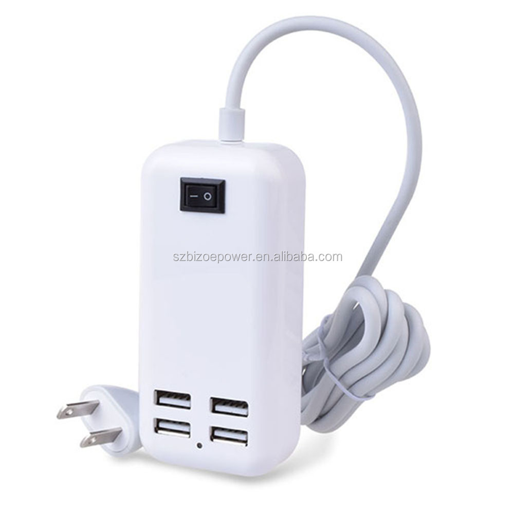 US/AU/UK/EU Plug 4 Port USB Wall Charger, universal wall socket charger for android iphoone