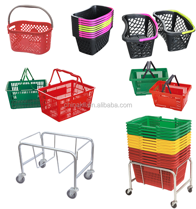 plastic shopping basket with wheels