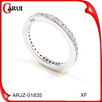 luxury jewellery weeding thin engraved silver ring with cz stones