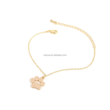 Fashion 18k Gold Plated Bracelet Tassut Cat Dog Paw Print Animal Bracelet for Women NSYH-0020