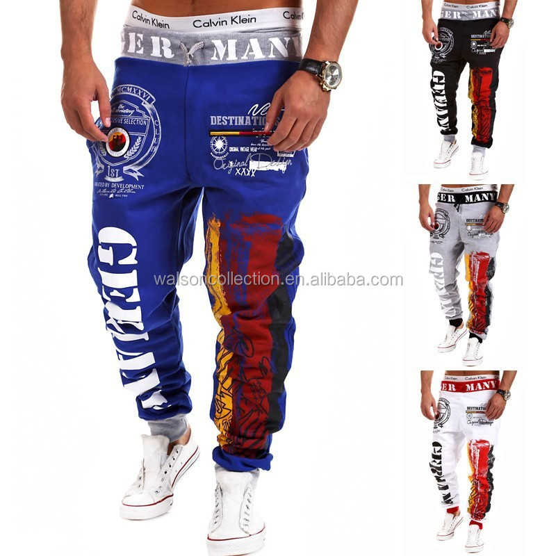 2015 slim fit custom number design men trousers jogger sweatpant men for men