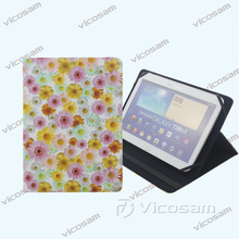 Chinese wholesale OEM design fashion beautiful printing flowers tablet leather case 8'' inch case cover for tablet pc with stand