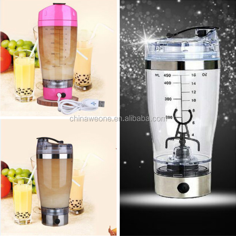 100% leak-proof guarantee mixer shaker bottle with 450ML, electronic shaker cup with mixer,electric shaker bottle with USB