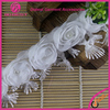 Handmade beaded 3D french embroidered ribbon fabric lace trim of bridal veil