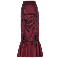 Belle Poque Women's Vintage Retro Gothic Victorian Style N/T taffeta Ruched Long Wine Skirt BP000208-2