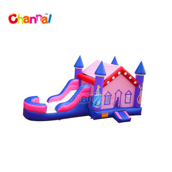 Pink inflatable jumping combo inflatable moon bounce bouncy castle with slide