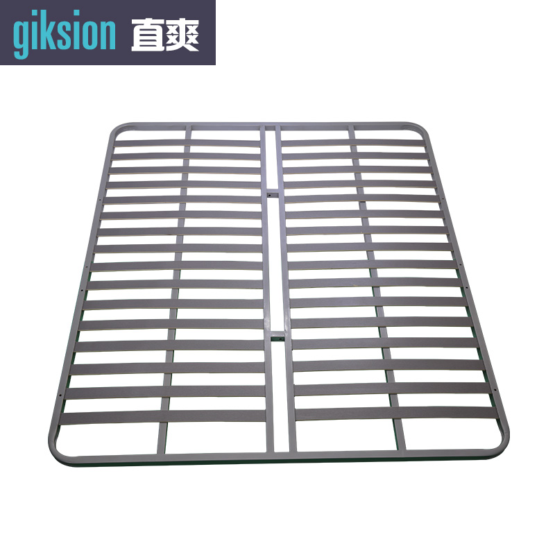 (ZS912#) Metal foundation bed frame with wooden slat base