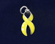 New design silver plating yellow enamel awareness ribbon charms wholesale